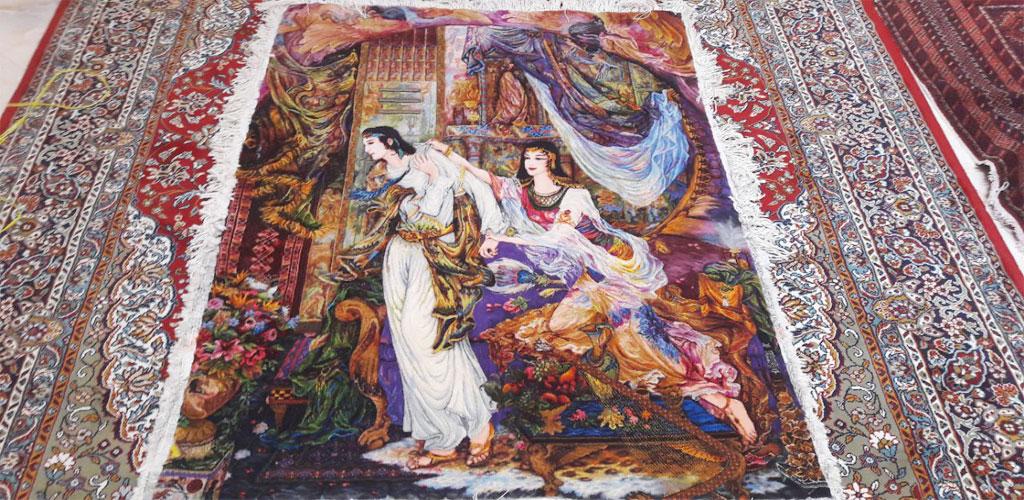 تابلوفرش دستباف ایرانی ابریشم بافنده قوچان